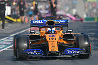 March 16, 2019: Carlos Sainz Jnr (ESP) #55 from the McLaren F1 team leaves the pit to start the qualification session at the 2019 Australian Formula One Grand Prix at Albert Park, Melbourne, Australia. Photo Sydney Low