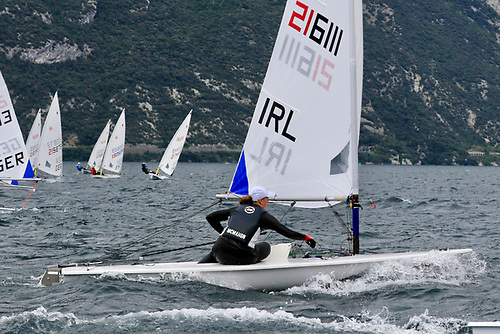 Two wins out of two races sailed so far for Howth Yacht Club's Eve McMahon pictured above in the Radial youth worlds in Italy