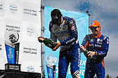#10: Alex Palou, Chip Ganassi Racing Honda celebrates winning the Grand Prix of Portland, champagne, #9: Scott Dixon, Chip Ganassi Racing Honda