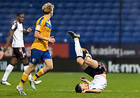 Bolton Wanderers' Ryan Delaney is brought down<br /> <br /> Photographer Andrew Kearns/CameraSport<br /> <br /> The EFL Sky Bet League Two - Bolton Wanderers v Mansfield Town - Tuesday 3rd November 2020 - University of Bolton Stadium - Bolton<br /> <br /> World Copyright © 2020 CameraSport. All rights reserved. 43 Linden Ave. Countesthorpe. Leicester. England. LE8 5PG - Tel: +44 (0) 116 277 4147 - admin@camerasport.com - www.camerasport.com