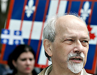 "Quebec City, July 1, 2007 ? FLQ founding member Raymond Villeneuve takes part into the annual MLNQ (Mouvement de liberation National du QuÈbec) Canada Day protest in front of the Quebec City hall July 1, 2007. Each year, the MLNQ gather a couple of dozens of hard line separatists to protest the ""Canadian colonialism demonstration of Canada Day"".<br /> <br /> PHOTO :  Francis Vachon - Agence Quebec Presse"