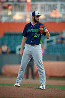 Vermont Lake Monsters pitcher Alexander Pantuso (28) during a NY-Penn League game against the Aberdeen IronBirds on August 18, 2019 at Leidos Field at Ripken Stadium in Aberdeen, Maryland.  Vermont defeated Aberdeen 6-5.  (Mike Janes/Four Seam Images)