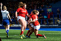 Jess Kavanagh (right) of Wales celebrates scoring her sides first try during the Women's Six Nations match between Wales and Ireland at Cardiff Arms Park, Cardiff, Wales, UK. Sunday 17 March 2019