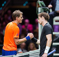 Februari 12, 2015, Netherlands, Rotterdam, Ahoy, ABN AMRO World Tennis Tournament, Andy Murray (GBR) - Vasek Pospisil (CAN)<br /> Photo: Tennisimages/Henk Koster