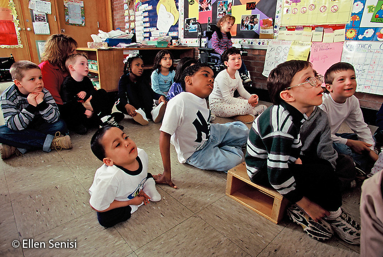 MR / Schenectady, NY.Zoller Public School / Inclusion class Grade 1.Students listen in class. (Class includes non-Special Education, cerebral palsy, sacral agenesis, spina bifida, and ADHD students).MR: MF.© Ellen B. Senisi