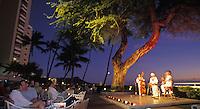 "Sunset hula show with Diamond Head backdrop, Waikiki beach bar/ restaurant """"House Without a Key"""", Halekulani Hotel"