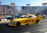 Jul, 8, 2011; Joliet, IL, USA: NHRA funny car driver Jeff Arend (near lane) alongside John Force during qualifying for the Route 66 Nationals at Route 66 Raceway. Mandatory Credit: Mark J. Rebilas-