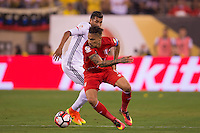 Action photo during the match Peru vs Colombia, Corresponding to the quarterfinals of the America Cup 2016 Centenary at Metlife Stadium.<br /> <br /> Foto de accion durante el partido Peru vs Colombia, Correspondiente a los Cuartos de Final de la Copa America Centenario 2016 en el Estadio Metlife, en la foto: Paolo Guerrero<br /> <br /> <br /> 17/06/2016/MEXSPORT/Osvaldo Aguilar.