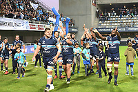 Team of Montpellier celebrates the Victory during the Top 14 Match between Montpellier and Racing 92 on April 22, 2017 in Montpellier, France. (Photo by Alexandre Dimou/Icon Sport)