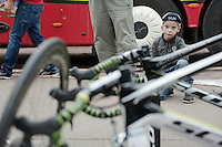 a young fan watches the race bikes getting cleaned at the team hotel after another day in the Tour<br /> <br /> 2014 Tour de France<br /> stage 4: Le Touquet-Paris-Plage/Lille Métropole (163km)