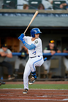 Bluefield Blue Jays center fielder Dominic Abbadessa (2) at bat during the second game of a doubleheader against the Bristol Pirates on July 25, 2018 at Bowen Field in Bluefield, Virginia.  Bristol defeated Bluefield 5-2.  (Mike Janes/Four Seam Images)