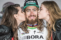 podium kisses for long haired race winner Peter Sagan (SVK/Bora-Hansgrohe)<br /> <br /> 69th Kuurne-Brussel-Kuurne 2017 (1.HC)
