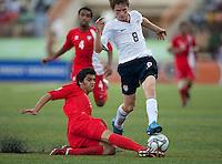 Alex Shinsky avoid the slide tackle. US Under-17 Men's National Team defeated United Arab Emirates 1-0 at Gateway International  Stadium in Ijebu-Ode, Nigeria on November 1, 2009.