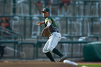 Fort Wayne TinCaps third baseman Ethan Skender (3) makes a throw to first base against the West Michigan Whitecaps at Parkview Field on August 5, 2019 in Fort Wayne, Indiana. The TinCaps defeated the Whitecaps 9-3. (Brian Westerholt/Four Seam Images)