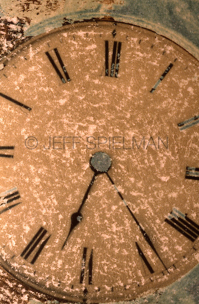 TIME - Close-up of an Antique Clock Face - Etched and Hand Colored Polaroid Transfer Image