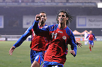 Costa Rica forward Bryan Ruiz (11) celebrates his score.   The USMNT tied Costa Rica 2-2 on the final game of the 2010  FIFA World Cup Qualifying round at RFK Stadium,Wednesday  October 14 , 2009.