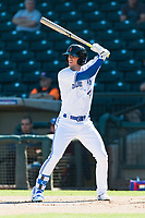 Surprise Saguaros right fielder Cavan Biggio (26), of the Toronto Blue Jays organization, at bat during an Arizona Fall League game against the Peoria Javelinas at Surprise Stadium on October 17, 2018 in Surprise, Arizona. (Zachary Lucy/Four Seam Images)