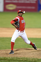 Batavia Muckdogs pitcher Alexander Carreras (43) delivers a pitch during a game against the Mahoning Valley Scrappers on June 20, 2014 at Dwyer Stadium in Batavia, New York.  Batavia defeated Mahoning Valley 7-4.  (Mike Janes/Four Seam Images)