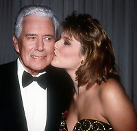 John Forsythe and Mona Grudt 1990<br /> Photo By John Barrett/PHOTOlink