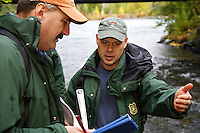 Fisheries personnel perform stream surverys in Cooper Creek, Kenai Peninsula, Chugach National Forest, Alaska.