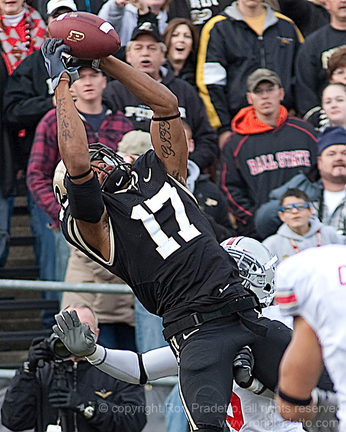 Purdue wide receiver Aaron Valentin could not hold on to this pass due to a well-placed grab by the defender. The Purdue Boilermakers defeated the Ohio State Buckeyes 26-18 at Ross-Ade Stadium, West Lafayette, Indiana on October 17, 2009..