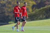 Pictured L-R: Gareth Bale and Chris Gunter in action. Monday 31 August 2020<br /> Re: Wales football training ahead of their game against Finland, at the Vale Resort in Hensol, Wales, UK.