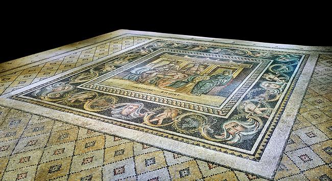 Roman mosaics - Women At Breakfast Mosaic. Zosimos Villa, Ancient Zeugama, 2nd - 3rd century AD . Zeugma Mosaic Museum, Gaziantep, Turkey.  Against a black background.