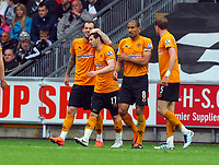 FAO SPORTS PICTURE DESK<br /> Pictured: Matt Jarvis (2nd L) of the Wolves celebrating his goal with team mates L-R Steven Fletcher, Karl Henry and Richard Stearman. Saturday, 28 April 2012<br /> Re: Premier League football, Swansea City FC v Wolverhampton Wanderers at the Liberty Stadium, south Wales.