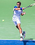 Tommy Robredo (ESP) wins over number one in the world Novak Djokovic (SRB) at the Western & Southern Open by 76(6) 75 in Mason, OH on August 14, 2014.