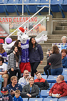 Binghamton Rumble Ponies mascot Rowdy poses for a photo with fans during a game against the Akron RubberDucks on May 12, 2017 at NYSEG Stadium in Binghamton, New York.  Akron defeated Binghamton 5-1.  (Mike Janes/Four Seam Images)