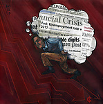 Conceptual illustration of unemployment and financial crisis