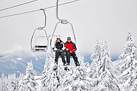 Couple on chairlift. Timberline, Oregon