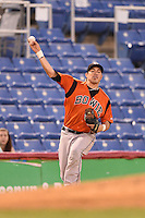 Bowie Baysox third baseman Niuman Romero (20) throws to first during a game against the Binghamton Mets on August 3, 2014 at NYSEG Stadium in Binghamton, New York.  Bowie defeated Binghamton 8-2.  (Mike Janes/Four Seam Images)
