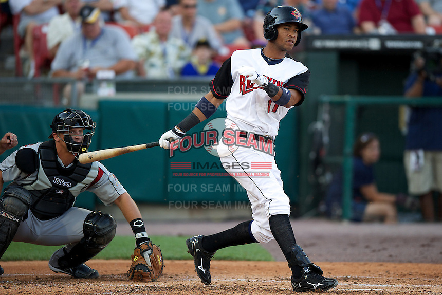 Rochester Red Wings shortstop Pedro Florimon #11 during the Triple-A All-Star game featuring the Pacific Coast League and International League top players at Coca-Cola Field on July 11, 2012 in Buffalo, New York.  PCL defeated the IL 3-0.  (Mike Janes/Four Seam Images)