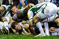 Dylan Hartley of Northampton Saints scores a try during the LV= Cup second round match between Ospreys and Northampton Saints at Riverside Hardware Brewery Field, Bridgend (Photo by Rob Munro)