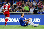 Chelsea Forward Alvaro Morata (R) gestures during the International Champions Cup match between Chelsea FC and FC Bayern Munich at National Stadium on July 25, 2017 in Singapore. Photo by Marcio Rodrigo Machado / Power Sport Images