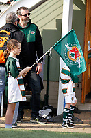 Mascots wait for the players during the Greene King IPA Championship match between Ealing Trailfinders and Nottingham Rugby at Castle Bar , West Ealing , England  on 30 March 2019. Photo by Carlton Myrie.