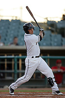 Lee Cruz of the Lancaster JetHawks during game against the Visalia Rawhide at Clear Channel Stadium in Lancaster,California on July 28, 2010. Photo by Larry Goren/Four Seam Images