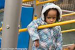 Education Preschool 3 year olds sad unhappy girl on playground