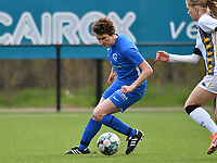 Lotte Van Den Steen (15) of KRC Genk in action during a female soccer game between Sporting Charleroi and KRC Genk on the 4 th matchday in play off 2 of the 2020 - 2021 season of Belgian Scooore Womens Super League , friday 30 th of April 2021  in Marcinelle , Belgium . PHOTO SPORTPIX.BE | SPP | Jill Delsaux