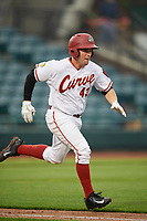 Altoona Curve catcher Jackson Williams (43) runs to first base during a game against the New Hampshire Fisher Cats on May 11, 2017 at Peoples Natural Gas Field in Altoona, Pennsylvania.  Altoona defeated New Hampshire 4-3.  (Mike Janes/Four Seam Images)