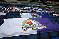 7th November 2020; Ewood Park, Blackburn, Lancashire, England; English Football League Championship Football, Blackburn Rovers versus Queens Park Rangers; Blackburn Rovers fans' banners draped over seating on the Ronnie Clayton Blackburn end stand, empty due to the pandemic