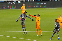 ST PAUL, MN - OCTOBER 18: Kevin Molino #7 of Minnesota United FC goes for the header during a game between Houston Dynamo and Minnesota United FC at Allianz Field on October 18, 2020 in St Paul, Minnesota.