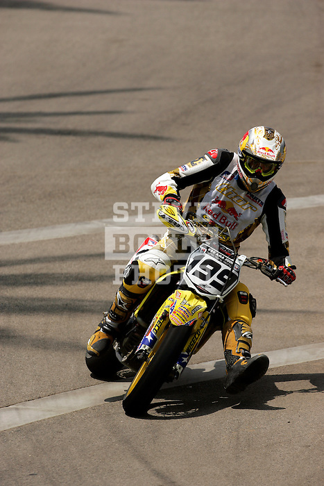 Travis Pastrana (199) competes during the Moto X Super Moto final during X-Games 12 in Los Angeles, California on August 6, 2006.