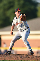 Connecticut Tigers pitcher Austin Pritcher (12) delivers a pitch during a game against the Batavia Muckdogs on July 21, 2014 at Dwyer Stadium in Batavia, New York.  Connecticut defeated Batavia 12-3.  (Mike Janes/Four Seam Images)