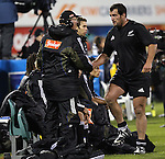 All Black Carl Hayman is subbed off during the international rugby match between the New Zealand All Blacks and South Africa at Jade Stadium, Christchurch, New Zealand. 14 July 2007. Photo: Marc Weakley