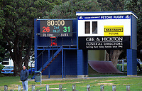 The final scoreboard from the Wellington premier club rugby Swindale Shield match between Petone and Tawa at Petone Rec in Lower Hutt, New Zealand on Saturday, 29 August 2020. Photo: Dave Lintott / lintottphoto.co.nz