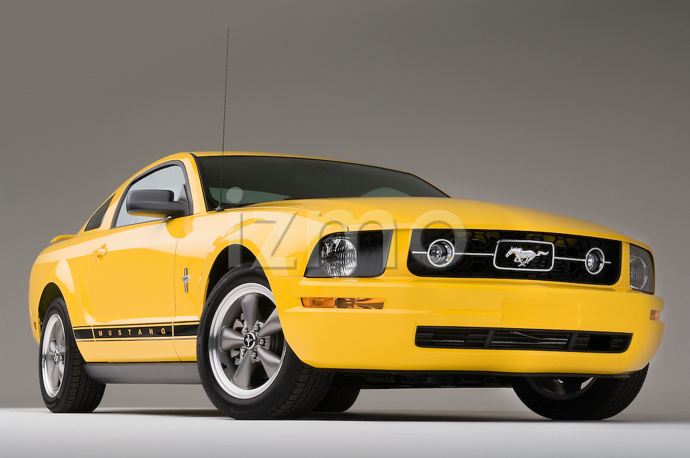 Ford Mustang GT low aggressive front angle view with front wheels trurned.