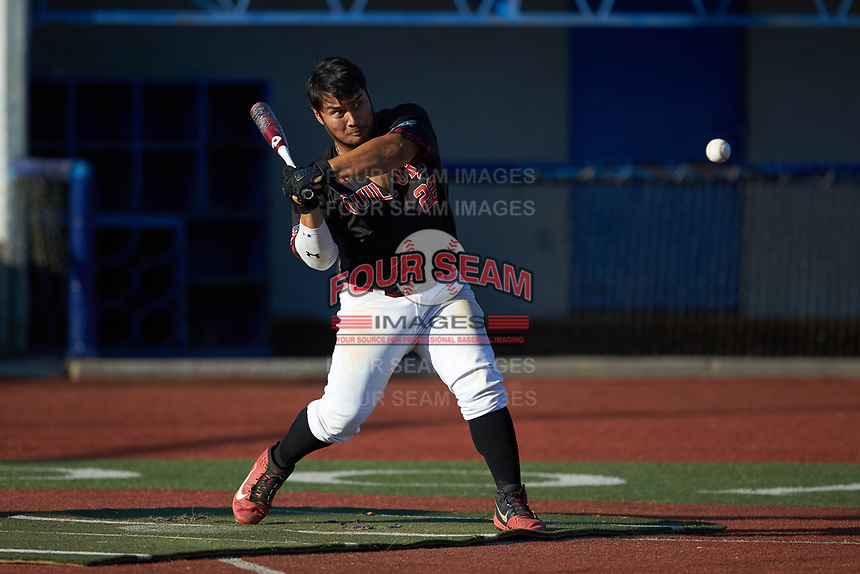 Corey Armstrong (22) (Auburn University at Montgomery) of the Guilford Lumberkings competes in the Old North State League All-Star Home Run Derby at Hooker Field on July 11, 2020 in Martinsville, VA.  (Brian Westerholt/Four Seam Images)