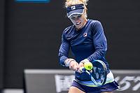 8th February 2021, Melbourne, Victoria, Australia;  Laura Siegemund of Germany returns the ball during round 1 of the 2021 Australian Open on February 8 2020